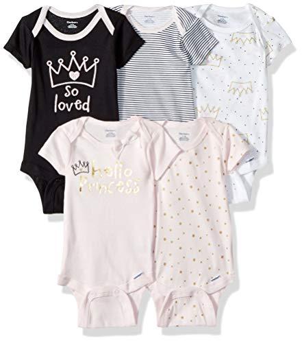 (Gerber Baby Girls' 5-Pack Variety Onesies Bodysuits, Princess Crown, 0-3 Months)