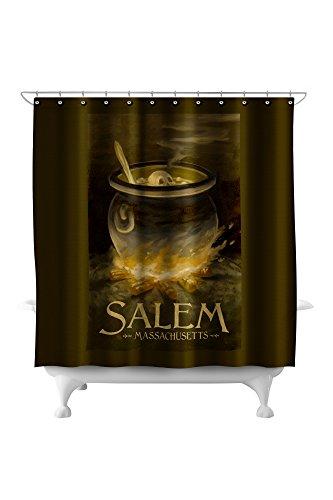 Salem, Massachusetts - Cauldron - Halloween Oil Painting (71x74 Polyester Shower Curtain)