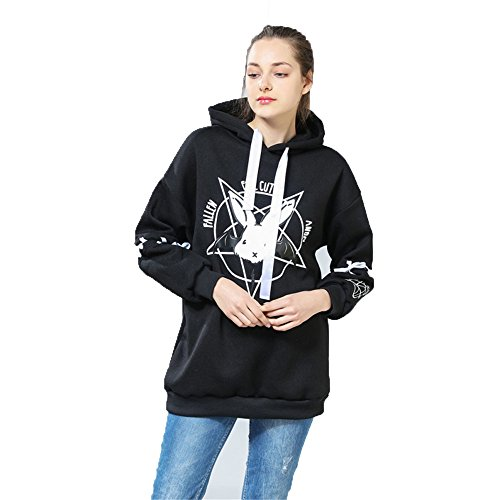 BSTANG Autumn Lace up Hoodies Cartoon Rabbit Pentacle Print Sweatshirt Kawaii Long Sleeve Loose Women Tracksuit