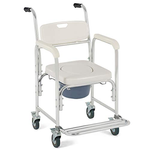 Medical Commode Toilet Seat Shower Wheelchair with Locking Casters for