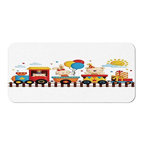 Kids Decor Personalized Mouse Pad,Cartoon Animals on a Train Bunny Teddy Bear Gift Boxes Balloons Party Hat Deco Decorative for Work Game,15.75''Wx23.62''Lx0.08''H