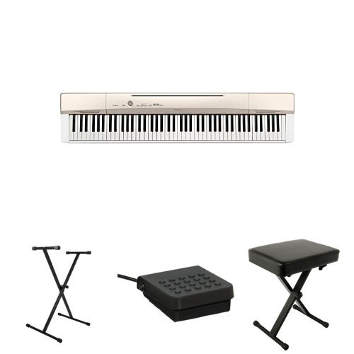 Casio Privia PX160GD 88-Key Full Size Digital Piano with On Stage Classic Single-X Keyboard Stand, Casio SP-3 Sustain Pedal and World Tour Deluxe Padded Keyboard Bench by Casio