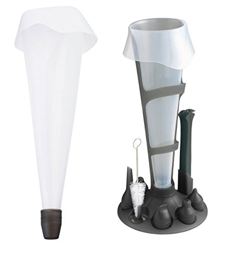Mastrad Pastry Bag Set - Reusable Silicone Pastry Set Includes 6 Interchangeable Nozzles and Stand For Easy Refilling/Storage