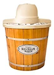 Reminiscent of the old fashion ice cream makers of the past, this unit is a fast and easy way to make 4-quarts of ice cream, frozen yogurt, or gelato. It features a locking motor mount, easy-to-clean bucket and a 4-quart aluminum canister. Si...