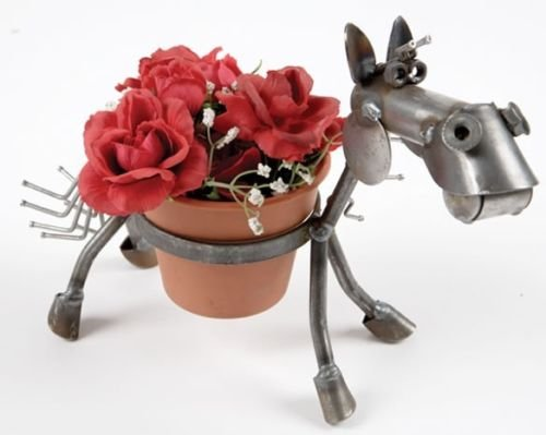 Yardbirds Junkyard Metal Animal Pony Pot Holder - F169 by Yardbirds