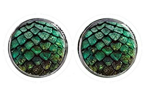 HYPOALLERGENIC Dragon Scales Earrings for Men Girls Earings Womens Scale Glitter 3D Button Shape Unisex Green