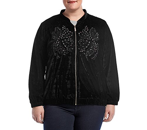 (Ruff Hewn GREY Plus Size Embroidered Eyelet Velvet Jacket 2X)