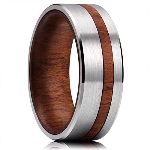 (King Will 8mm Metal Tungsten Carbide Ring Inner Hole Inlaid Wood Thin Brushed Comfort Fit8.5)