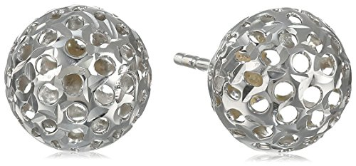 14k White Gold Cut-Out Ball Stud - Cut Out Gold White