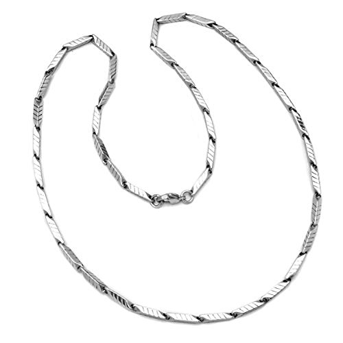Steel Bar Stainless Link (Dazzlingrock Collection Stainless Steel Unisex Fancy Bar Striped Link Chain Necklace 23 inch long 3 mm thickness Lobster Clasp)