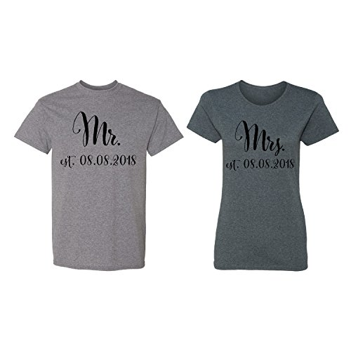 961e38aceb Mr. - Mrs. Personalized Couple Matching Shirt Set Newly Married Customized  Valentines Day Men