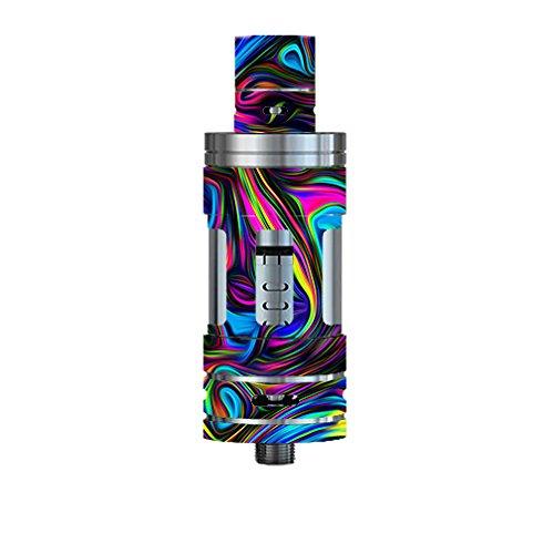 Skin Decal Vinyl Wrap for Smok TFV4 Tank Vape Mod Box / Neon Color Swirl Glass
