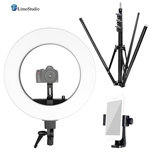 LimoStudio Round 18'' Diameter LED Ring Light with Tripod Stand, Slide Camera Mounting Adapter, Cellphone Spring Clip Holder, Dimmable Switch for Brightness Control, Photography Studio, AGG2536 by LimoStudio
