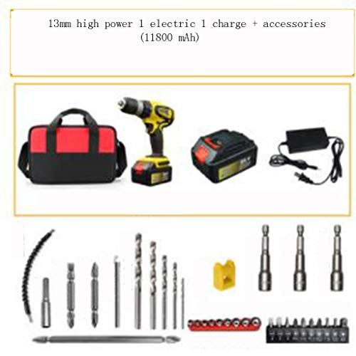 Cordless Drill High Power Hand Drill Lithium Drill Flashlight Turn Home Pistol Drill Industrial Grade Electric Screwdriver (Color : D)