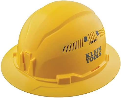 Klein Tools 60262 Hard Hat Vented Full Brim Style Padded SelfWicking OdorResistant Sweatband Yellow