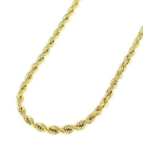 - 10k Yellow Gold 3mm Hollow Rope Diamond-Cut Link Twisted Chain Necklace 18