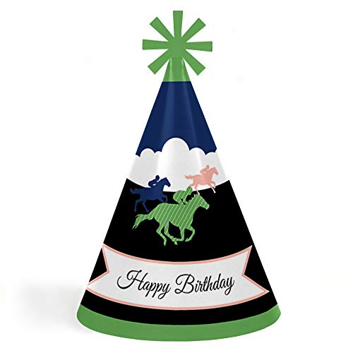 - Kentucky Horse Derby - Cone Happy Birthday Party Hats for Kids and Adults - Set of 8 (Standard Size)