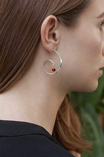 Stud Post Curved Hoop Sterling Silver 925 with Red and Black Huayruro Seed Earrings, Peruvian 'Good Fortune' G shape Hoops, Polished finish, Handmade in - Polished Shape
