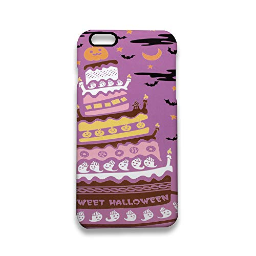 Protective Shock-Absorption & Skid-Proof iPhone 6S Case, Halloween Cake, Bats, Ghosts and Pumpkin iPhone 6 Case for Apple iPhone 6 / 6S 4.7 inch White