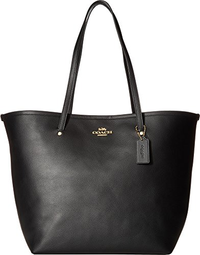 COACH Women's Crossgrain Large Street Tote Black/Gold One Size