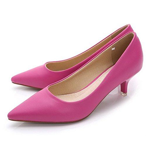 Damen PU Mittler Absatz Ziehen auf Pumps Schuhe, Blau, 36 AalarDom