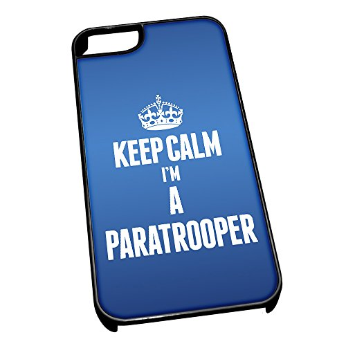 Nero cover per iPhone 5/5S blu 2641 Keep Calm I m A paracadutista