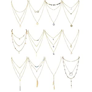Finrezio 12 PCS Gold & Silver Tone Layered Necklace for Women Girls Sexy Long Choker Chain Y Necklace Bar Feather…