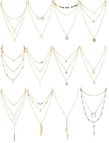 Finrezio 12 PCS Gold Plated Layered Necklace for Women Girls Sexy Long Choker Chain Y Necklace Bar Feather Pendent Necklace Sets ()