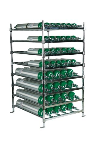 Stack & Rack Oxygen Storage System Rack 15 E size cylinders and 70 M6 size cylinders