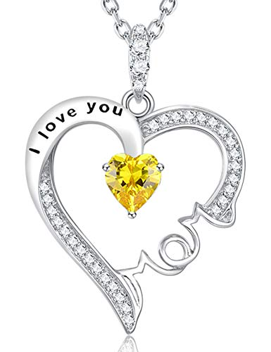 """Fine Jewelry Gift""""I Love You Mom"""" Heart Pendant Citrine Jewelry Birthday Anniversary Gift For Women For Her Sterling Silver Swarovski"""