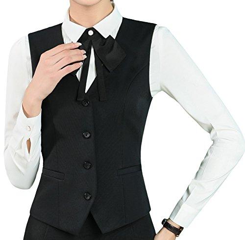 Vocni Women's Fully Lined 4 Botton V-Neck Economy Dressy Suit Vest Waistcoat Black US 2XL by Vocni