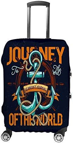 スーツケースカバー 伸縮素材 トランク カバー 洗える 汚れ防止 キズ保護 盗難防止 キャリーカバー おしゃれ アンカーの絵 ポリエステル 海外旅行 見つけやすい 着脱簡単 1枚入り