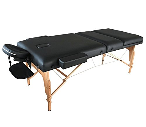"Mcombo Portable 3 Fold 4"" Massage Table Facial SPA Bed Tattoo w/Free Carry Case SL34 Black"