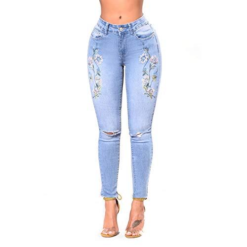 JUNFELICIA Denim pantaloni a vita alta con gamba dritta e gamba ricamata rosa elasticizzata a vita alta (Color : Style1, Size : XL) Style1