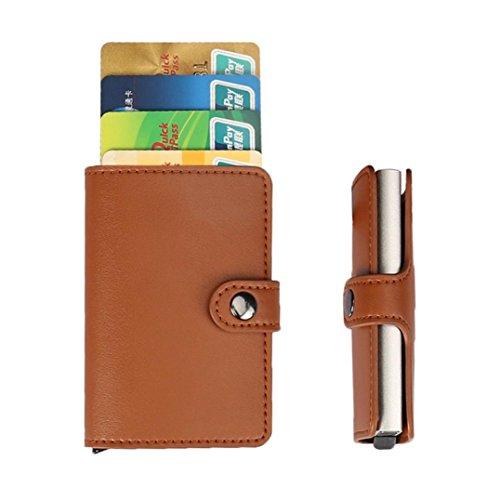 Titular de la tarjeta, Morwind Acero inoxidable cuero hombres billetera ID tarjeta de crédito titular protector estuche monedero Marrón