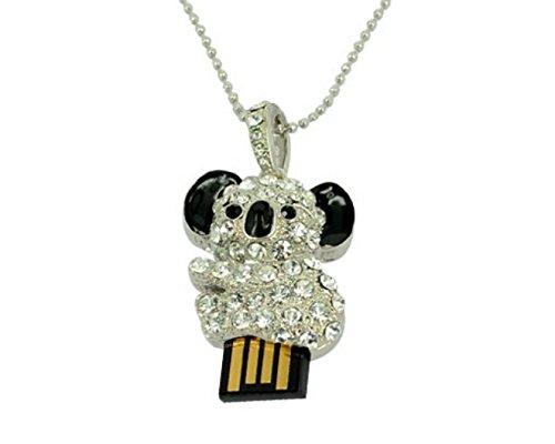Crystal Koala Flash necklace Silver