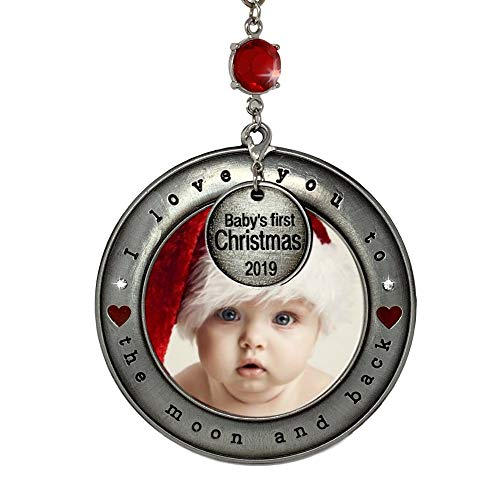 - BANBERRY DESIGNS Baby's First Christmas 2019 - Picture Ornament I Love You to The Moon and Back - Dated Heart Charm - New Baby