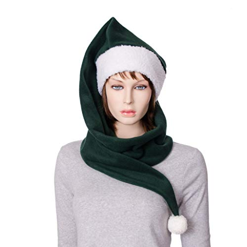 Dark Green and Cream Extra Long Wrap Around Stocking Cap with Pompom Fleece and Sherpa Scarf Hat