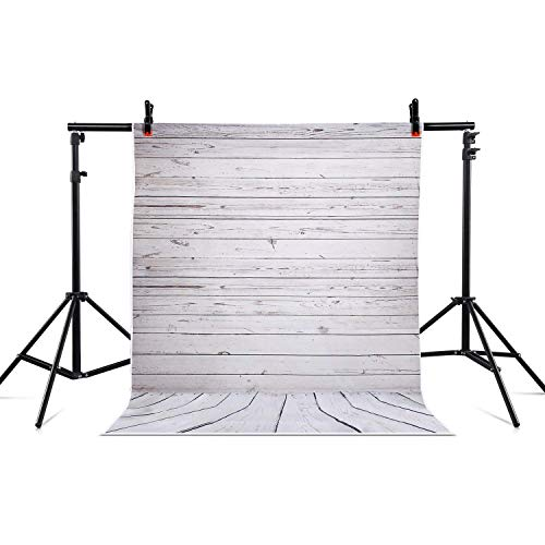 - 5ft x 7ft Photography Background Vinyl Backdrop Paper Studio Props-Gray Vertical Grainy Wood Floor for Baby Babe New-Born Photo Shooting