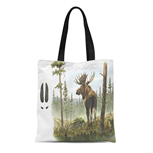 Female Moose - Semtomn Canvas Tote Bag Adult European Moose Elk Bull Alces in Forest Including Durable Reusable Shopping Shoulder Grocery Bag