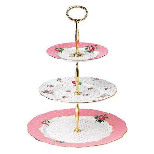 Royal Albert New Country Roses Vintage 3-Tier Cake Stand, Cheeky Pink Pink Roses Gravy