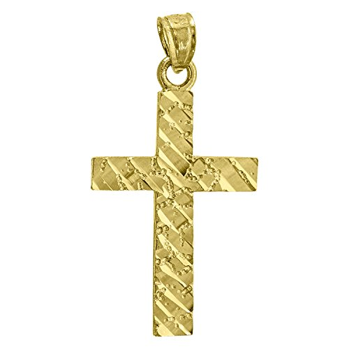 14kt Yellow Gold Mens Nugget Cross Ht:28.5mm Religious Pendant Charm ()