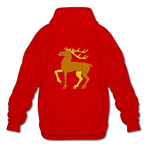 Gzhouqube Men's Christmas Elk Tops Casual Hat Without Pocket Hoodies Sweatshirt Tops Blouse L Red