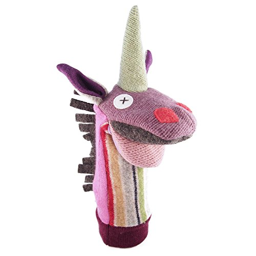 Cate and Levi Handmade Magic Unicorn Hand Puppet, 12-Inch (Reclaimed Wool)