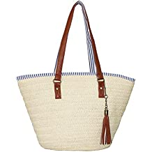 Sornean Straw Beach Bag Handbags Shoulder Bag Tote,Cotton Lining,PU Leather Handle-Eco Friendly