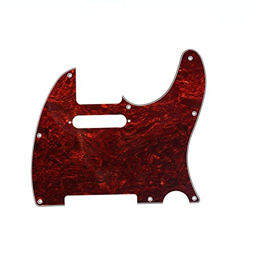 Musiclily Tele Pickguard for US/Mexico Made Fender Standard Telecaster Modern Style Electric Guitar, 4ply Red Tortoise
