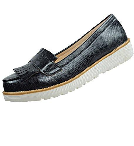 CAPRIUM Moderne Schuhe Espadrilles Sandalen Mokassin Fransen Halbschuhe, Damen 000M2001 Schwarz M2002