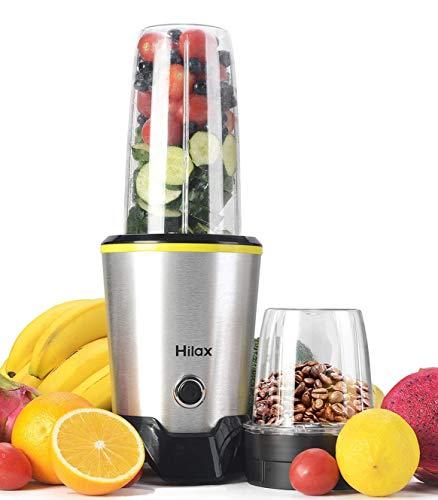 Hilax 1000W Personal Smoothie Blender Coffee Grinder Nutri Blender 2-Set Blades for Shakes, Fruit Juice, Baby Food, Vegetable and Beans, with BPA-Free Tritan Portable Bottles (Juicer Baby)