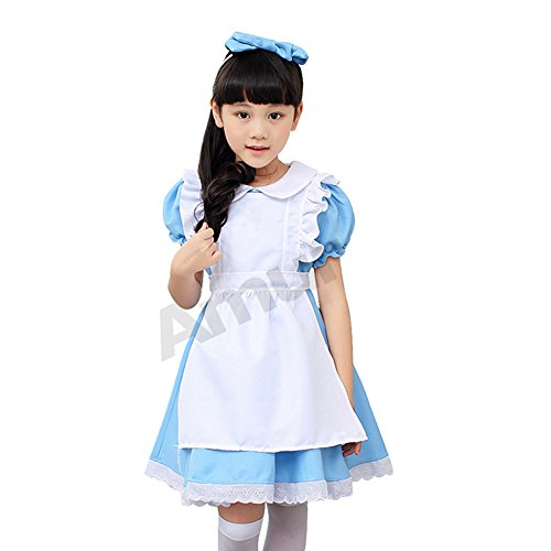 Amurleopard Halloween Kids Girls Cos Maid Outfit Dress Costume Alice's Adventures in Wonderland (Alice In Wonderland Childrens Costumes)