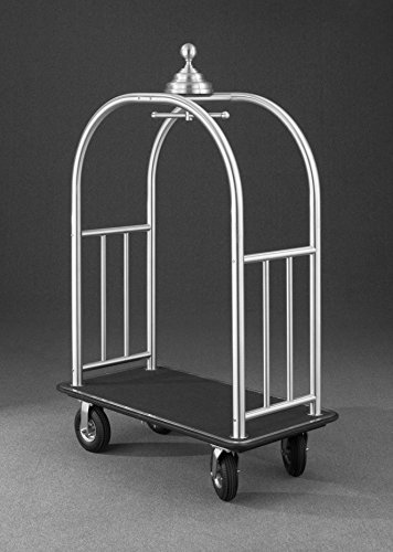 (Glaro 8848 Signature Bellman Cart with Satin Brass finish, Gray carpet color, and Gray bumper. Includes Pneumatic Black tires.)